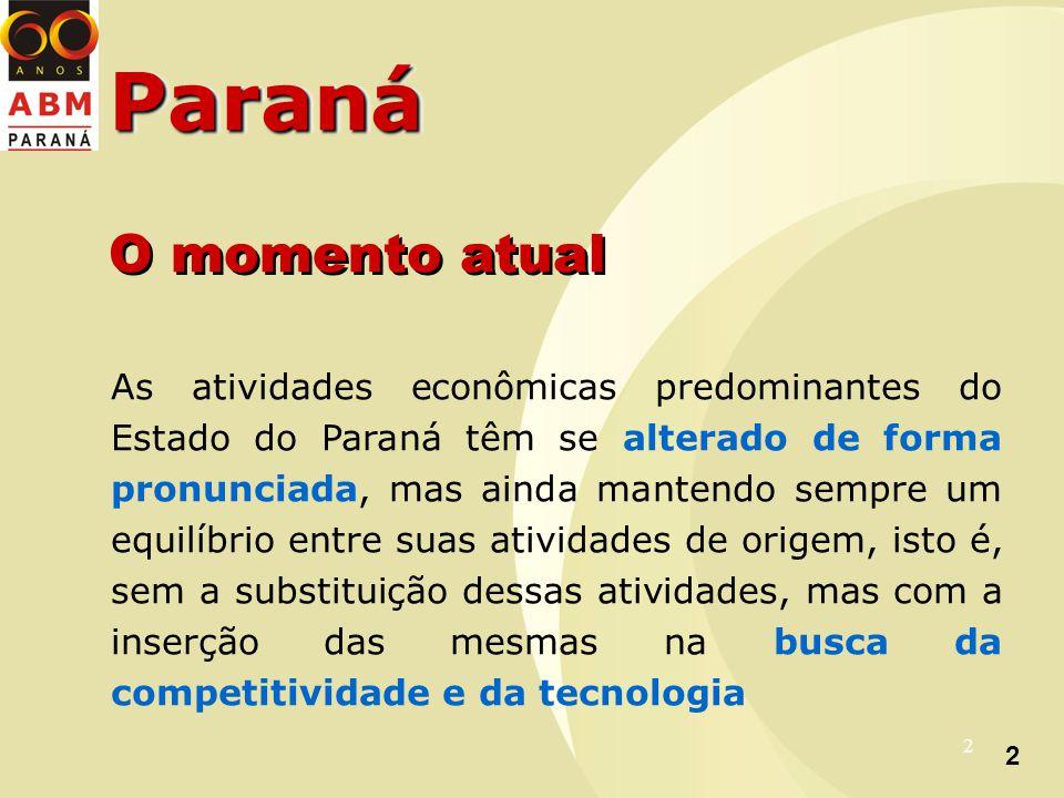 2 2 ParanáParaná As atividades econômicas predominantes do Estado do Paraná têm se alterado de forma pronunciada, mas ainda mantendo sempre um equilíbrio entre suas atividades de origem, isto é, sem a substituição dessas atividades, mas com a inserção das mesmas na busca da competitividade e da tecnologia O momento atual