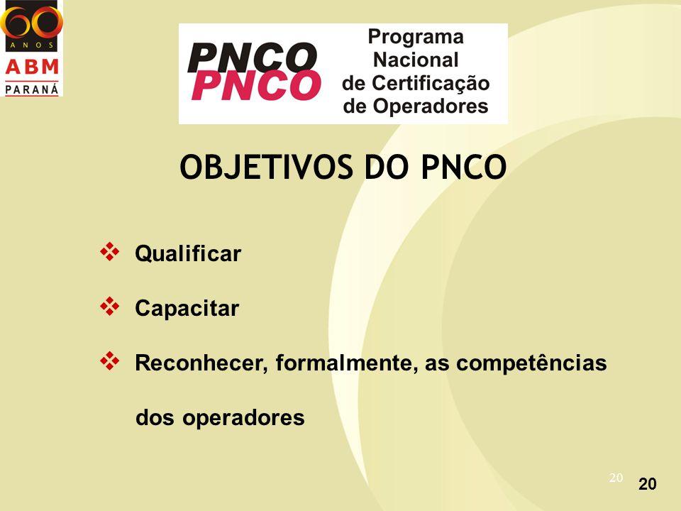 20 OBJETIVOS DO PNCO Qualificar Capacitar Reconhecer, formalmente, as competências dos operadores