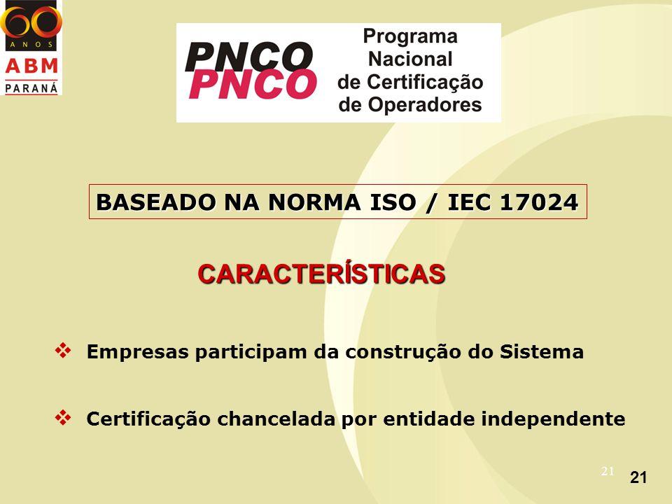21 CARACTERÍSTICAS Empresas participam da construção do Sistema Certificação chancelada por entidade independente BASEADO NA NORMA ISO / IEC 17024