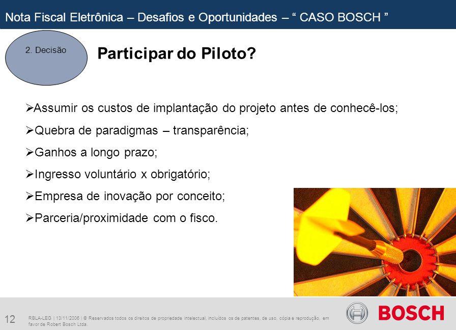 12 RBLA-LEG | 13/11/2006 | © Reservados todos os direitos de propriedade intelectual, incluídos os de patentes, de uso, cópia e reprodução, em favor de Robert Bosch Ltda.