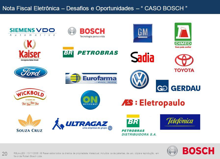 20 RBLA-LEG | 13/11/2006 | © Reservados todos os direitos de propriedade intelectual, incluídos os de patentes, de uso, cópia e reprodução, em favor de Robert Bosch Ltda.