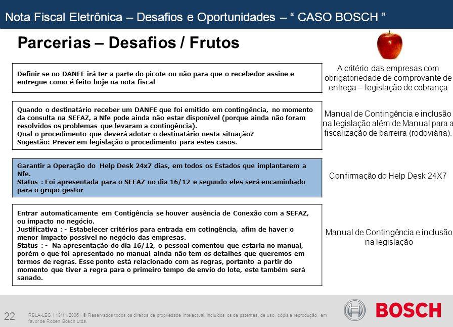 22 RBLA-LEG | 13/11/2006 | © Reservados todos os direitos de propriedade intelectual, incluídos os de patentes, de uso, cópia e reprodução, em favor de Robert Bosch Ltda.