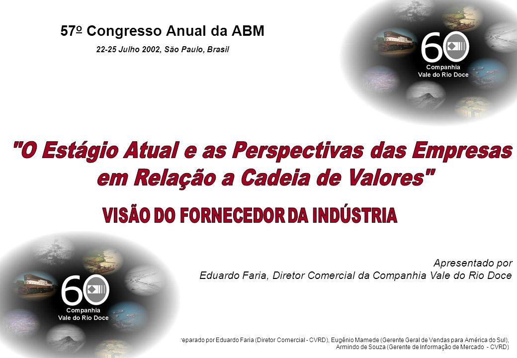 Companhia Vale do Rio Doce A produção mundial de aço tem apresentado uma tendência de crescimento nos últimos 10 anos.