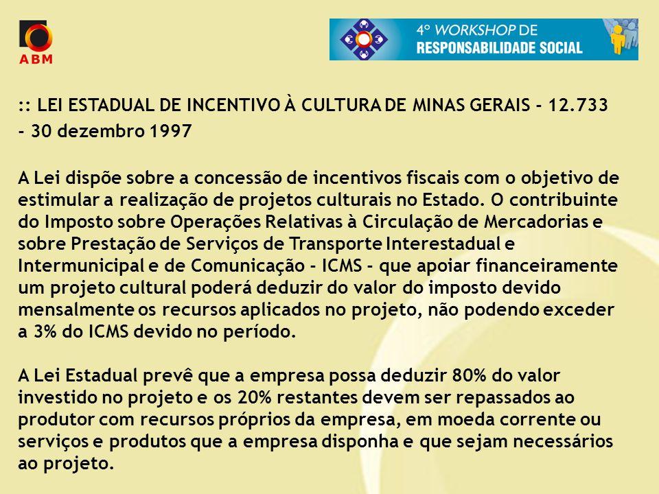 :: LEI ESTADUAL DE INCENTIVO À CULTURA DE MINAS GERAIS - 12.733 - 30 dezembro 1997 A Lei dispõe sobre a concessão de incentivos fiscais com o objetivo