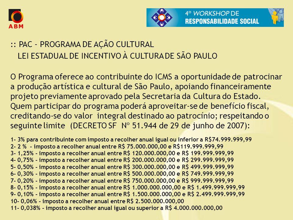 :: PAC - PROGRAMA DE AÇÃO CULTURAL LEI ESTADUAL DE INCENTIVO À CULTURA DE SÃO PAULO O Programa oferece ao contribuinte do ICMS a oportunidade de patro