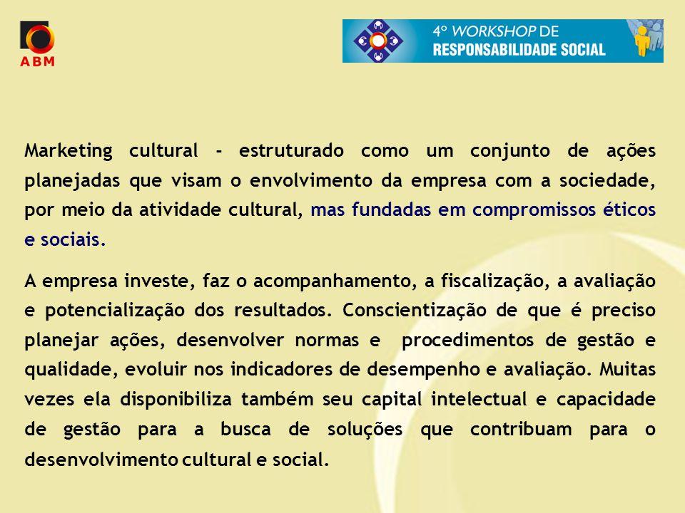 Marketing cultural - estruturado como um conjunto de ações planejadas que visam o envolvimento da empresa com a sociedade, por meio da atividade cultu
