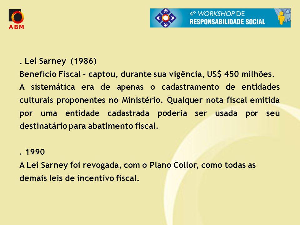 . Lei Sarney (1986) Benefício Fiscal - captou, durante sua vigência, US$ 450 milhões. A sistemática era de apenas o cadastramento de entidades cultura
