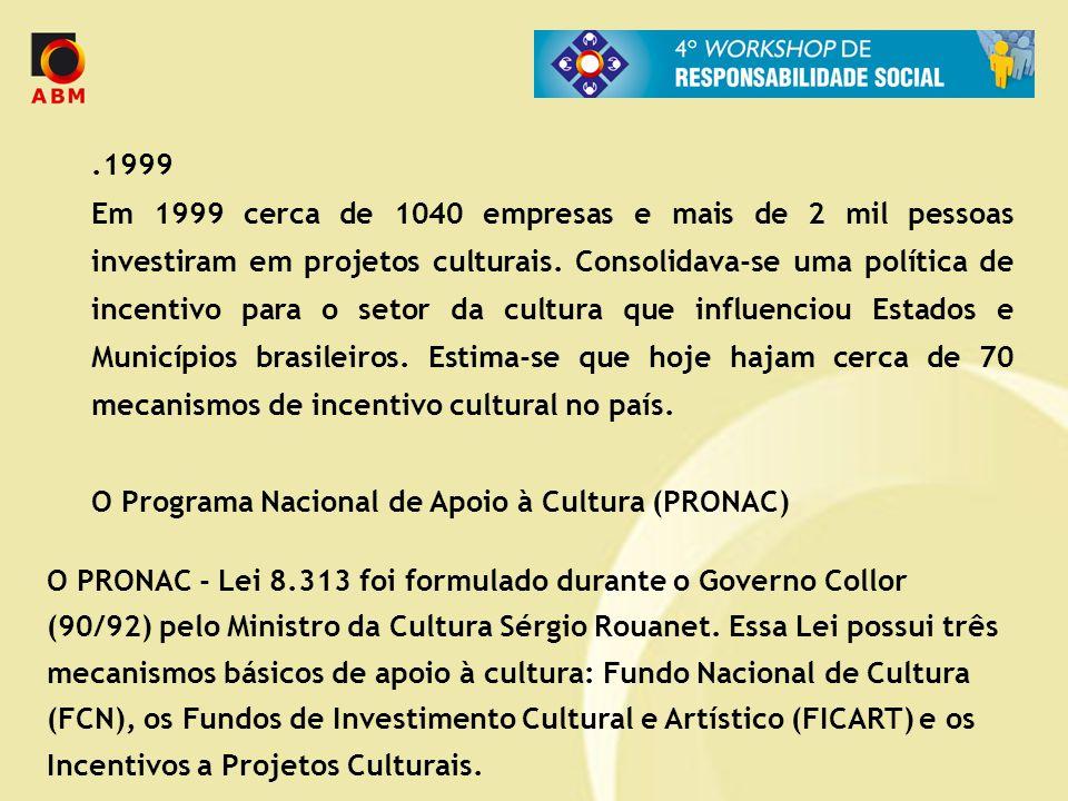 .1999 Em 1999 cerca de 1040 empresas e mais de 2 mil pessoas investiram em projetos culturais. Consolidava-se uma política de incentivo para o setor d