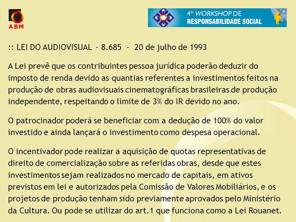 :: LEI DO AUDIOVISUAL - 8.685 - 20 de julho de 1993 A Lei prevê que os contribuintes pessoa jurídica poderão deduzir do imposto de renda devido as qua