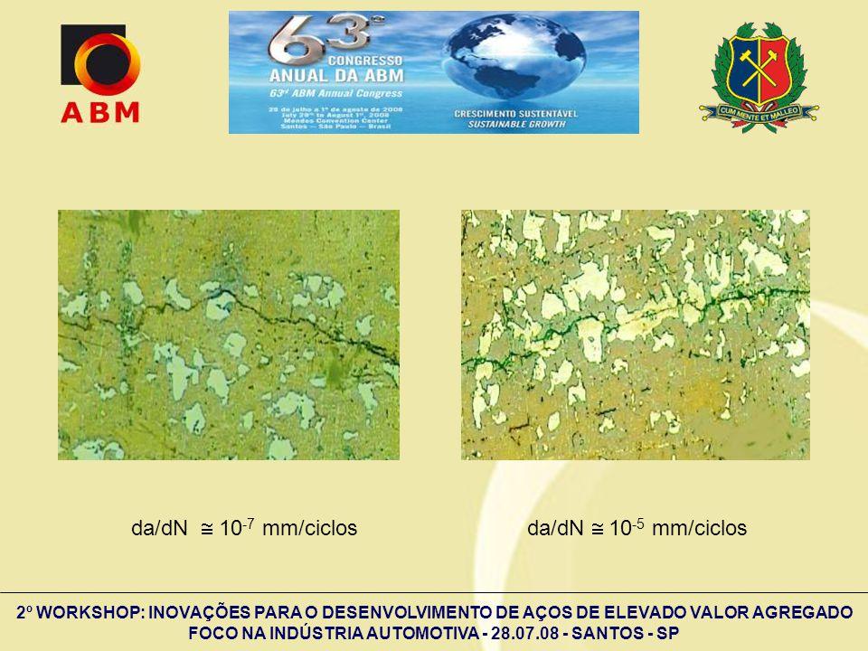 2º WORKSHOP: INOVAÇÕES PARA O DESENVOLVIMENTO DE AÇOS DE ELEVADO VALOR AGREGADO FOCO NA INDÚSTRIA AUTOMOTIVA - 28.07.08 - SANTOS - SP da/dN 10 -7 mm/c
