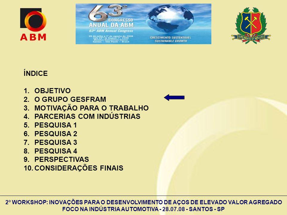 2º WORKSHOP: INOVAÇÕES PARA O DESENVOLVIMENTO DE AÇOS DE ELEVADO VALOR AGREGADO FOCO NA INDÚSTRIA AUTOMOTIVA - 28.07.08 - SANTOS - SP AmostraLE (MPa) LR (MPa) ALO (%) AISI 30423558245,0 AISI 43927245915,8 Aço-IF13229025,6 Aço-C-Mn16731024,8 Resultados de propriedades mecânicas de tração, direção longitudinal.