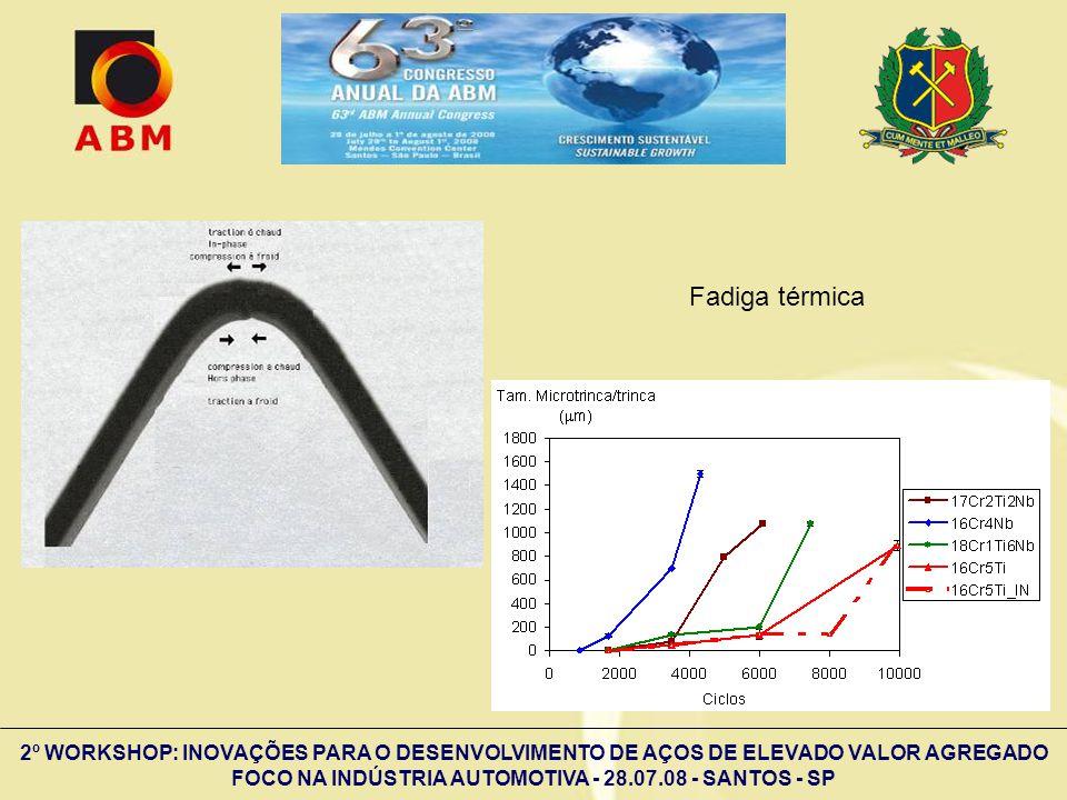 2º WORKSHOP: INOVAÇÕES PARA O DESENVOLVIMENTO DE AÇOS DE ELEVADO VALOR AGREGADO FOCO NA INDÚSTRIA AUTOMOTIVA - 28.07.08 - SANTOS - SP Fadiga térmica