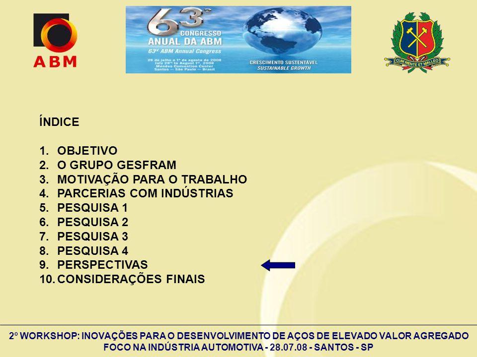 2º WORKSHOP: INOVAÇÕES PARA O DESENVOLVIMENTO DE AÇOS DE ELEVADO VALOR AGREGADO FOCO NA INDÚSTRIA AUTOMOTIVA - 28.07.08 - SANTOS - SP ÍNDICE 1.OBJETIV