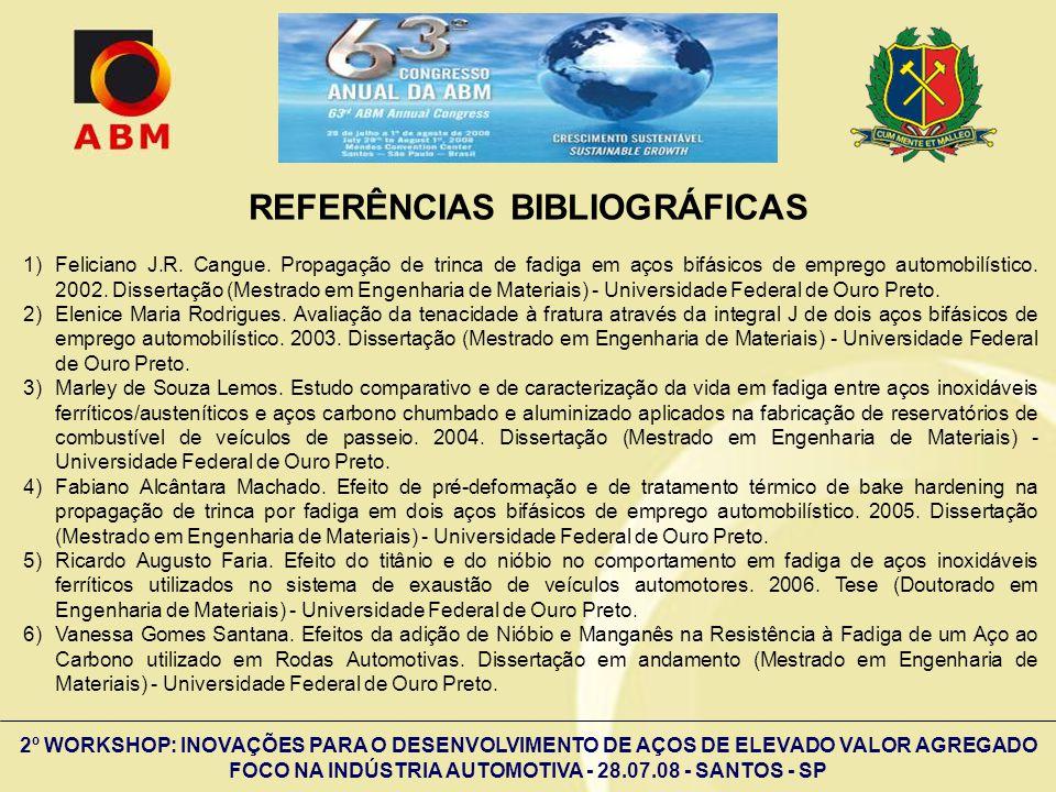 2º WORKSHOP: INOVAÇÕES PARA O DESENVOLVIMENTO DE AÇOS DE ELEVADO VALOR AGREGADO FOCO NA INDÚSTRIA AUTOMOTIVA - 28.07.08 - SANTOS - SP REFERÊNCIAS BIBL