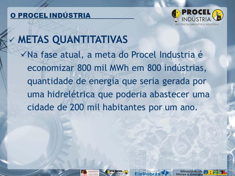 METAS QUANTITATIVAS Na fase atual, a meta do Procel Industria é economizar 800 mil MWh em 800 indústrias, quantidade de energia que seria gerada por u