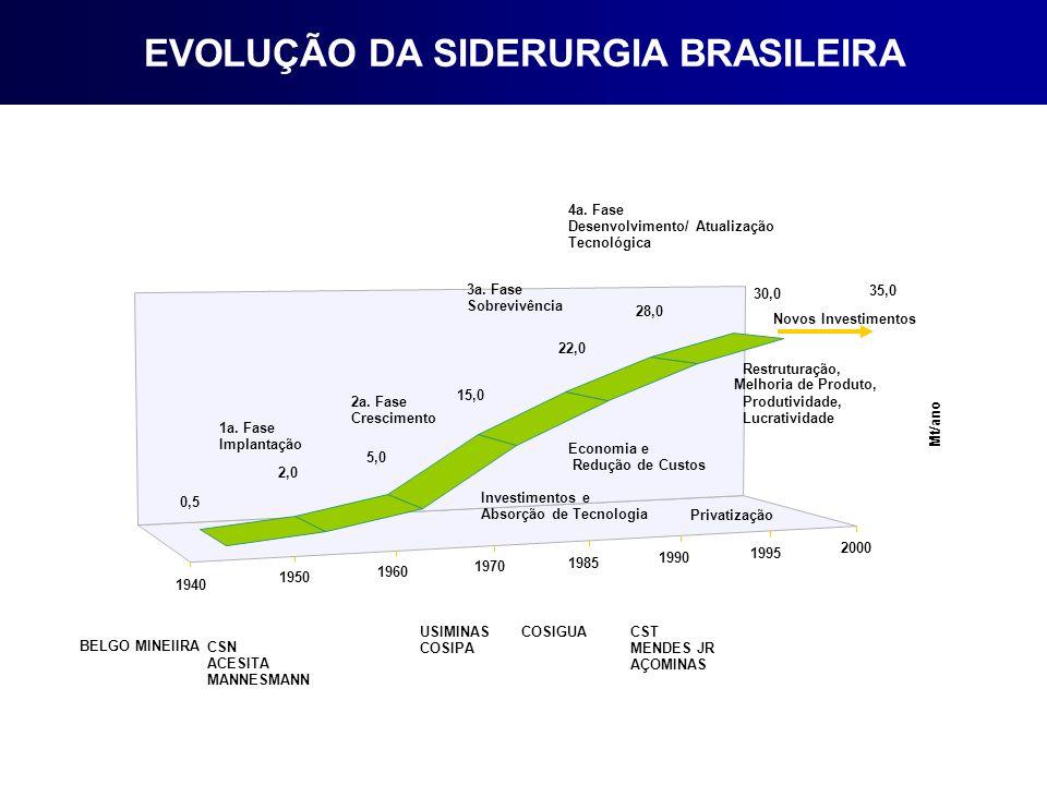 1940 1950 1960 1970 1985 1990 2000 30,0 28,0 22,0 15,0 5,0 2,0 0,5 35,0 Mt/ano 2a. Fase Crescimento 3a. Fase Sobrevivência 4a. Fase Desenvolvimento/ A