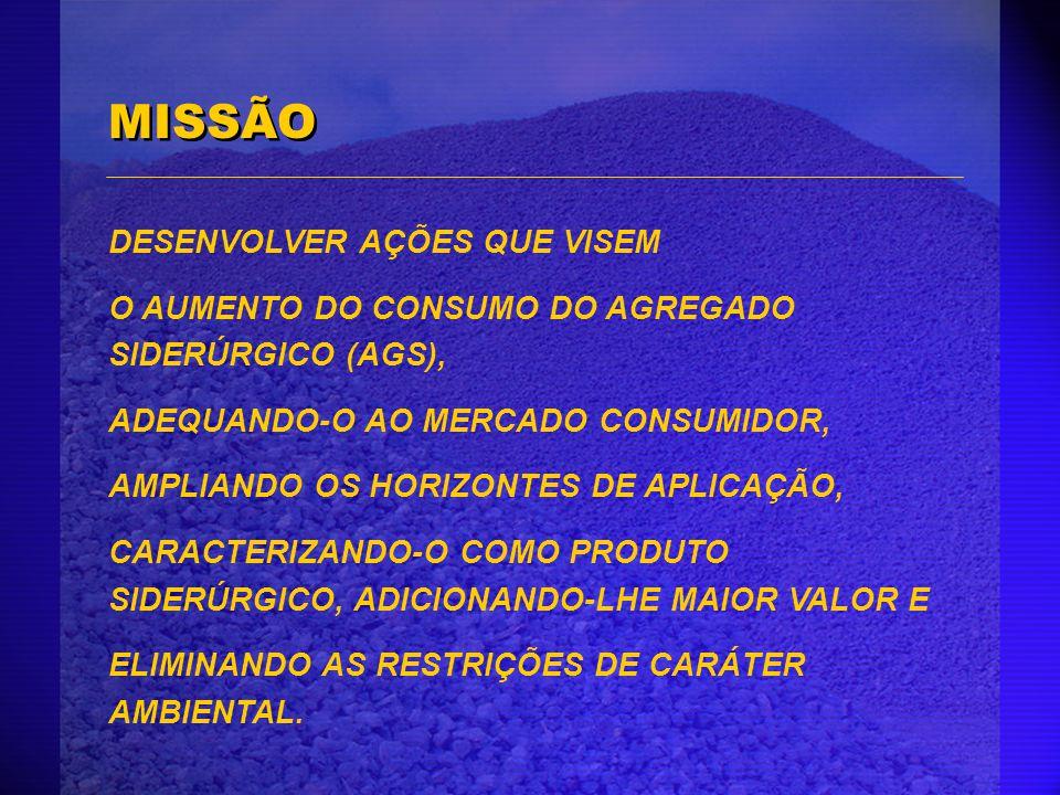 MISSÃO DESENVOLVER AÇÕES QUE VISEM O AUMENTO DO CONSUMO DO AGREGADO SIDERÚRGICO (AGS), ADEQUANDO-O AO MERCADO CONSUMIDOR, AMPLIANDO OS HORIZONTES DE A