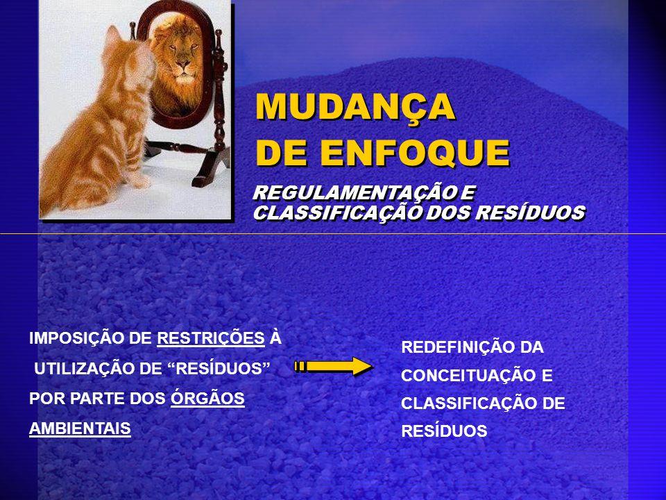 IMPOSIÇÃO DE RESTRIÇÕES À UTILIZAÇÃO DE RESÍDUOS POR PARTE DOS ÓRGÃOS AMBIENTAIS REDEFINIÇÃO DA CONCEITUAÇÃO E CLASSIFICAÇÃO DE RESÍDUOS MUDANÇA DE EN