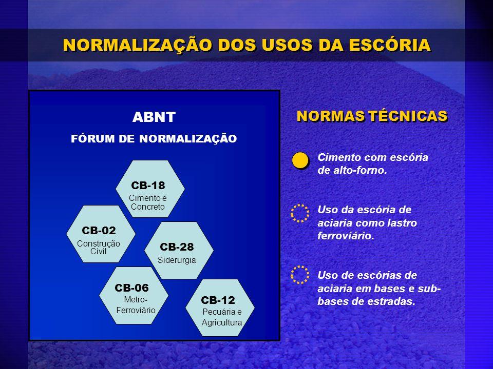 NORMALIZAÇÃO DOS USOS DA ESCÓRIA CB-02 CB-06 CB-18 CB-28 ABNT FÓRUM DE NORMALIZAÇÃO CB-12 Cimento com escória de alto-forno. Uso da escória de aciaria