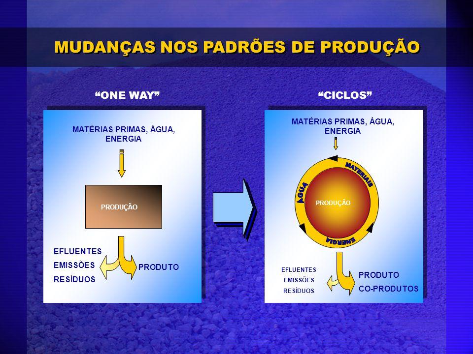 MUDANÇAS NOS PADRÕES DE PRODUÇÃO ONE WAY MATÉRIAS PRIMAS, ÁGUA, ENERGIA EFLUENTES EMISSÕES RESÍDUOS PRODUÇÃO PRODUTO MATÉRIAS PRIMAS, ÁGUA, ENERGIA EF