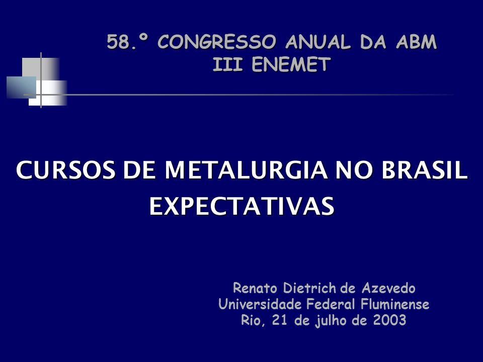 CURSOS DE METALURGIA NO BRASIL EXPECTATIVAS Renato Dietrich de Azevedo Universidade Federal Fluminense Rio, 21 de julho de 2003 58.º CONGRESSO ANUAL D