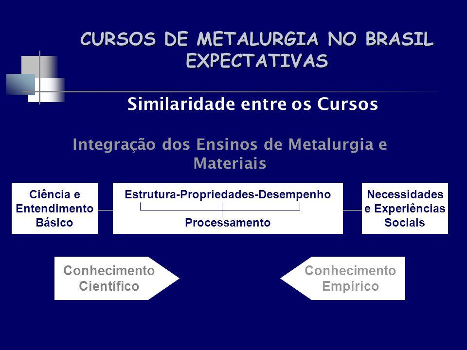 CURSOS DE METALURGIA NO BRASIL EXPECTATIVAS Similaridade entre os Cursos Integração dos Ensinos de Metalurgia e Materiais Ciência e Entendimento Básic