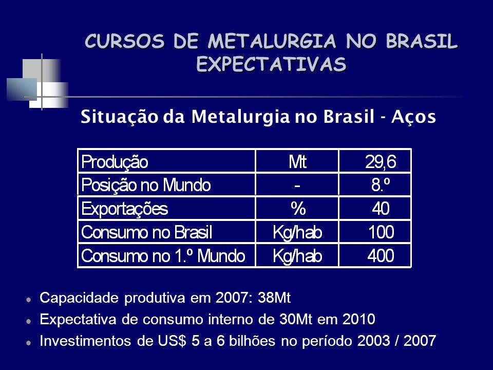 CURSOS DE METALURGIA NO BRASIL EXPECTATIVAS Situação da Metalurgia no Brasil - Aços Capacidade produtiva em 2007: 38Mt Expectativa de consumo interno