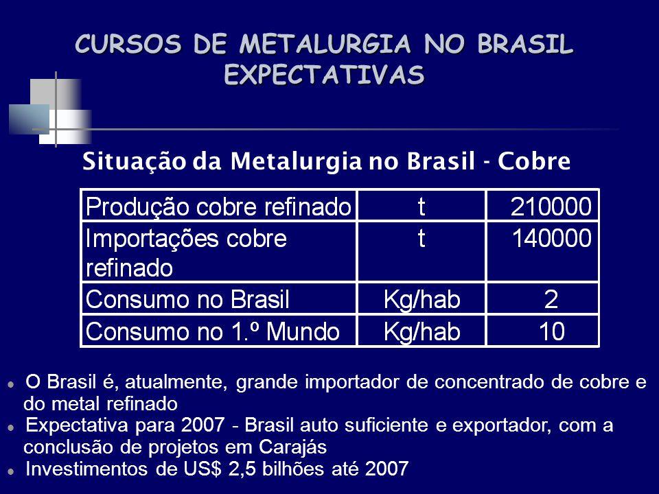 CURSOS DE METALURGIA NO BRASIL EXPECTATIVAS Situação da Metalurgia no Brasil - Cobre O Brasil é, atualmente, grande importador de concentrado de cobre