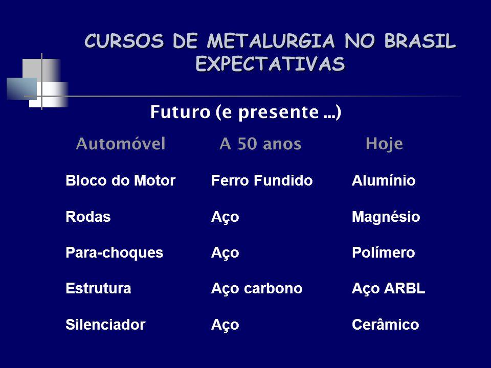 CURSOS DE METALURGIA NO BRASIL EXPECTATIVAS Automóvel Bloco do Motor Rodas Para-choques Estrutura Silenciador A 50 anos Ferro Fundido Aço Aço carbono