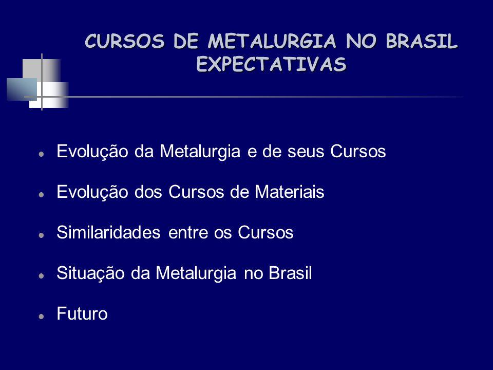 CURSOS DE METALURGIA NO BRASIL EXPECTATIVAS Evolução da Metalurgia e de seus Cursos Evolução dos Cursos de Materiais Similaridades entre os Cursos Sit