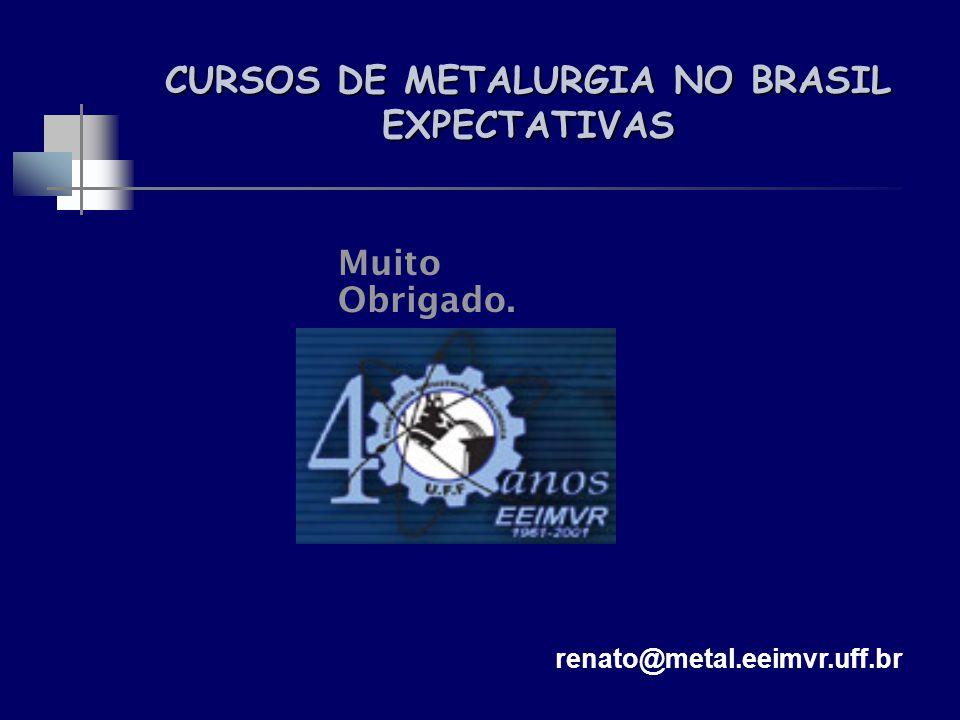 Muito Obrigado. CURSOS DE METALURGIA NO BRASIL EXPECTATIVAS renato@metal.eeimvr.uff.br