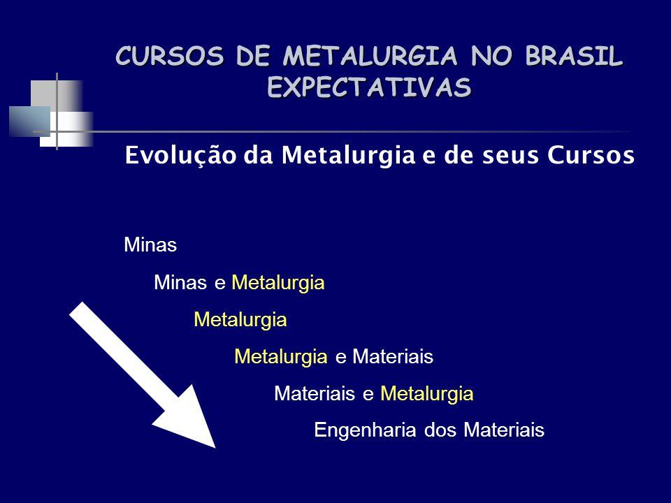 CURSOS DE METALURGIA NO BRASIL EXPECTATIVAS Evolução da Metalurgia e de seus Cursos Minas Minas e Metalurgia Metalurgia Metalurgia e Materiais Materia