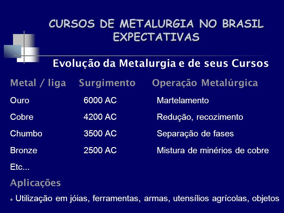 CURSOS DE METALURGIA NO BRASIL EXPECTATIVAS Evolução da Metalurgia e de seus Cursos Metal / liga SurgimentoOperação Metalúrgica Ouro 6000 AC Martelame