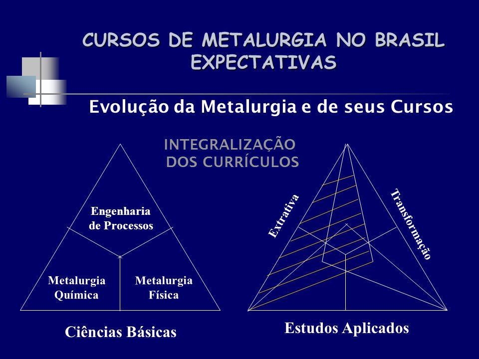 CURSOS DE METALURGIA NO BRASIL EXPECTATIVAS Evolução da Metalurgia e de seus Cursos INTEGRALIZAÇÃO DOS CURRÍCULOS Extrativa Transformação Metalurgia Q