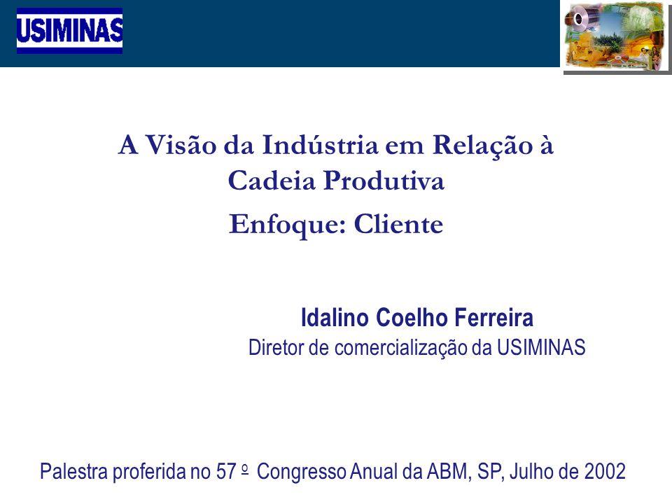 1 A Visão da Indústria em Relação à Cadeia Produtiva Enfoque: Cliente Idalino Coelho Ferreira Diretor de comercialização da USIMINAS Palestra proferid