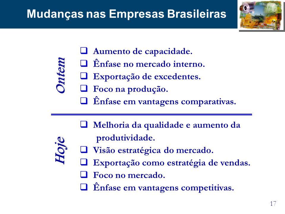 17 Mudanças nas Empresas Brasileiras Aumento de capacidade. Ênfase no mercado interno. Exportação de excedentes. Foco na produção. Ênfase em vantagens
