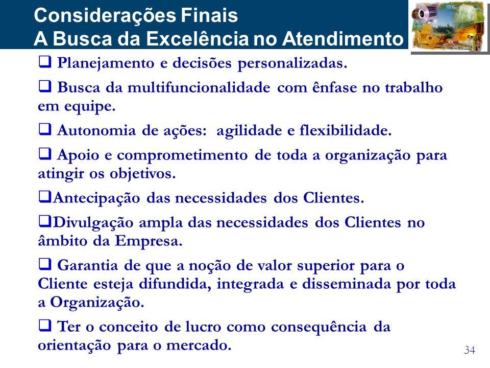 34 Considerações Finais A Busca da Excelência no Atendimento Planejamento e decisões personalizadas. Busca da multifuncionalidade com ênfase no trabal