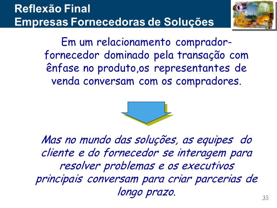 35 Em um relacionamento comprador- fornecedor dominado pela transação com ênfase no produto,os representantes de venda conversam com os compradores. R