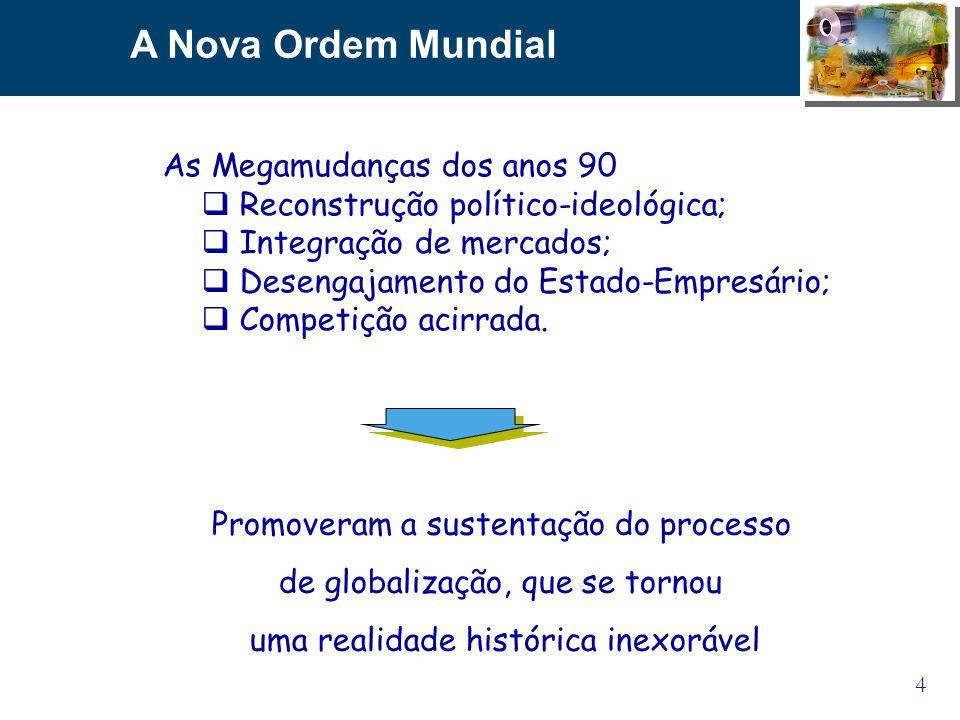 4 A Nova Ordem Mundial Promoveram a sustentação do processo de globalização, que se tornou uma realidade histórica inexorável As Megamudanças dos anos