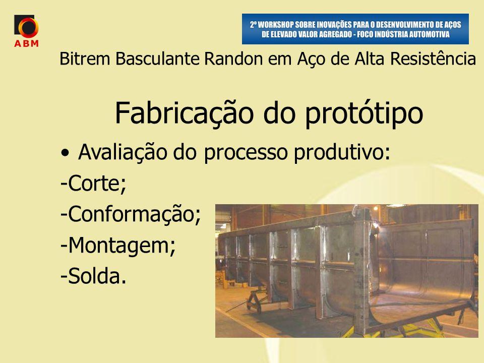 Fabricação do protótipo Avaliação do processo produtivo: -Corte; -Conformação; -Montagem; -Solda.