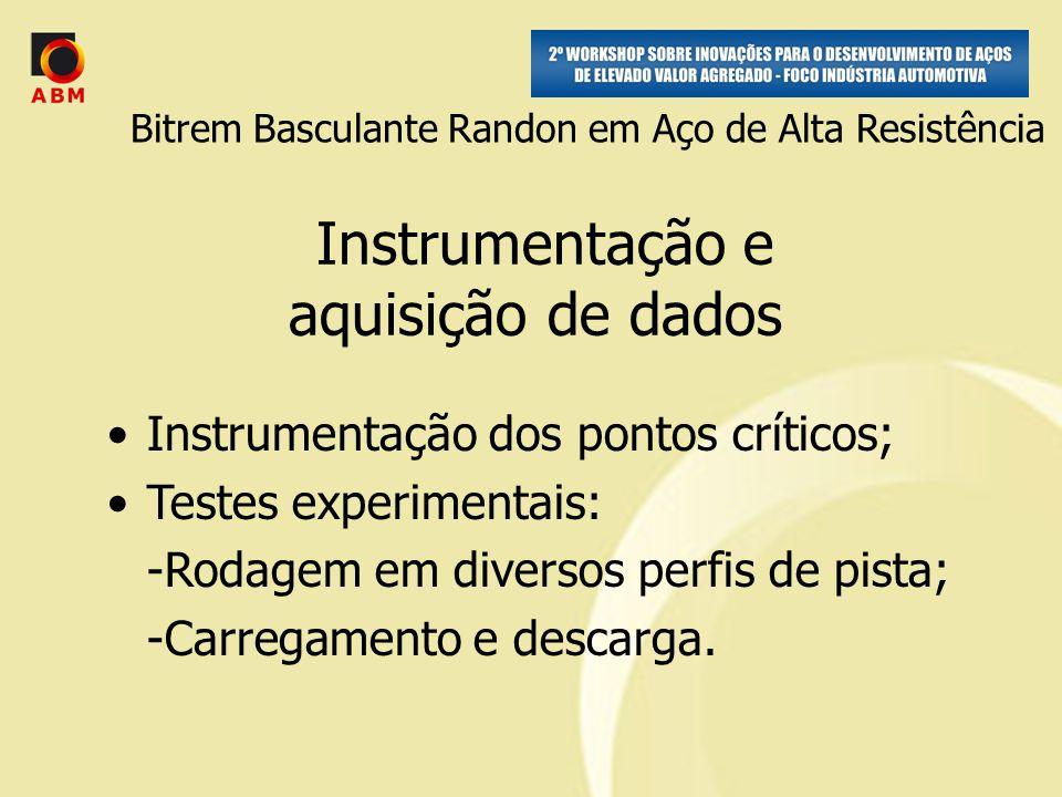 Instrumentação e aquisição de dados Instrumentação dos pontos críticos; Testes experimentais: -Rodagem em diversos perfis de pista; -Carregamento e descarga.