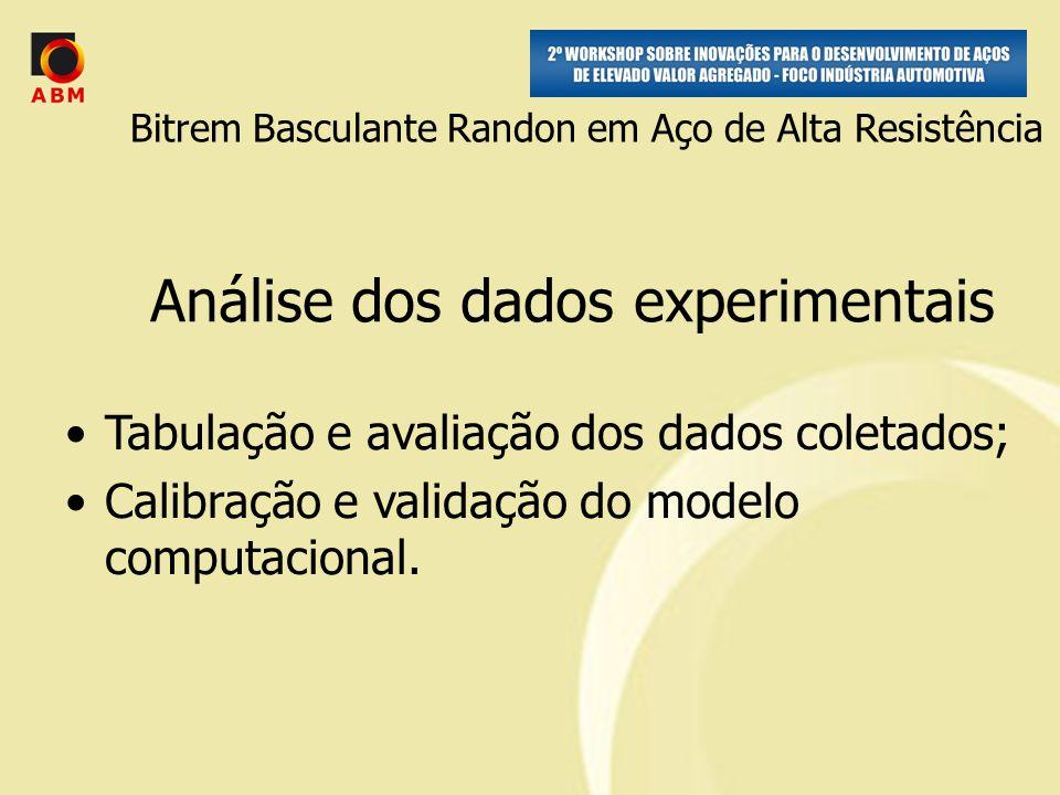 Análise dos dados experimentais Tabulação e avaliação dos dados coletados; Calibração e validação do modelo computacional.