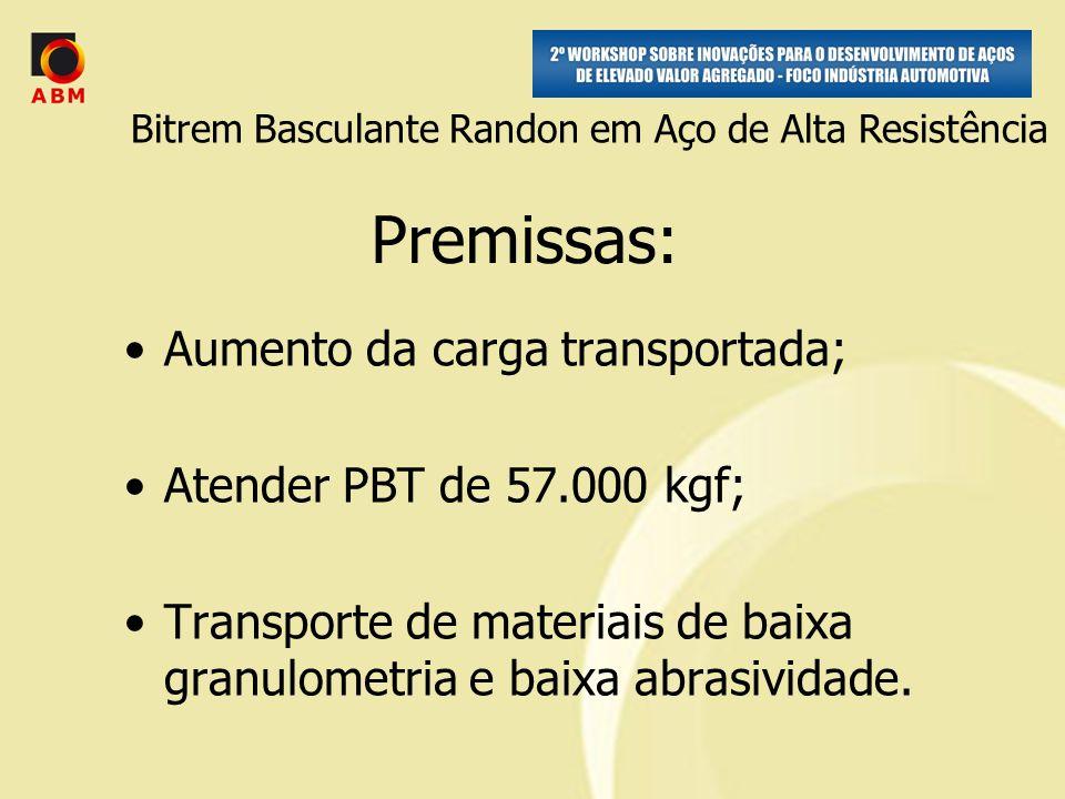 Premissas: Aumento da carga transportada; Atender PBT de 57.000 kgf; Transporte de materiais de baixa granulometria e baixa abrasividade.