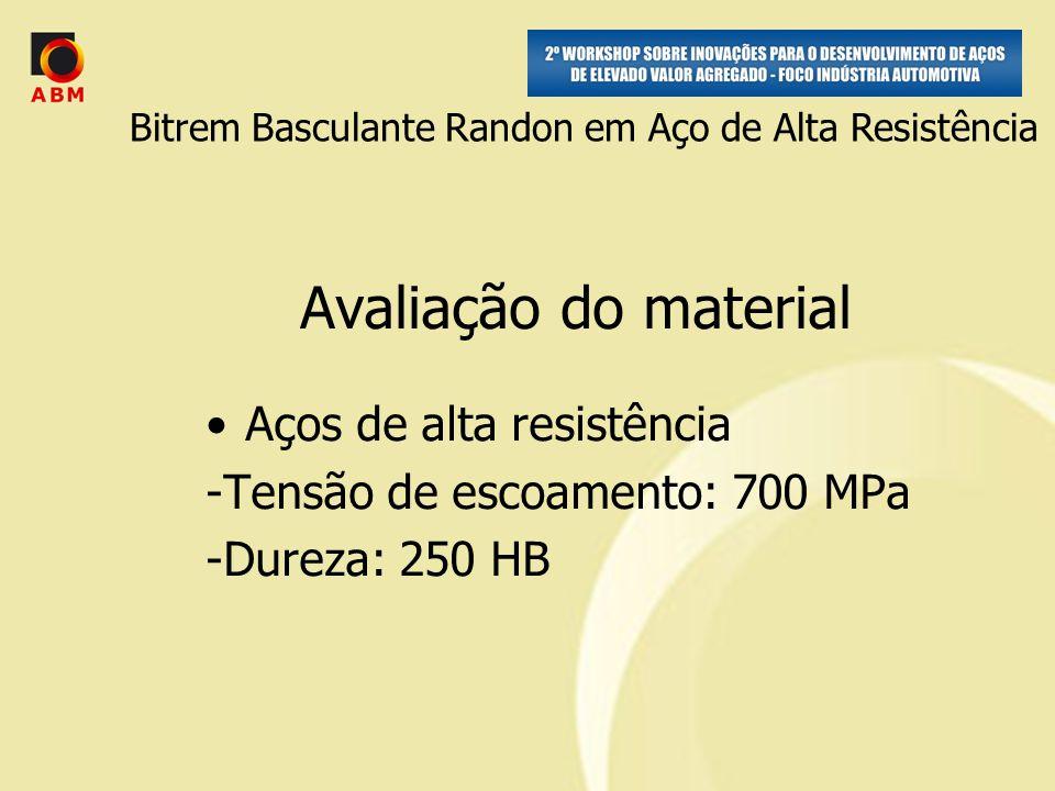 Avaliação do material Aços de alta resistência -Tensão de escoamento: 700 MPa -Dureza: 250 HB Bitrem Basculante Randon em Aço de Alta Resistência