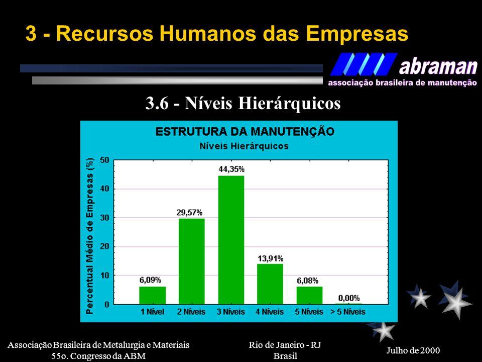 Rio de Janeiro - RJ Brasil Julho de 2000 Associação Brasileira de Metalurgia e Materiais 55o. Congresso da ABM 3 - Recursos Humanos das Empresas 3.4 -