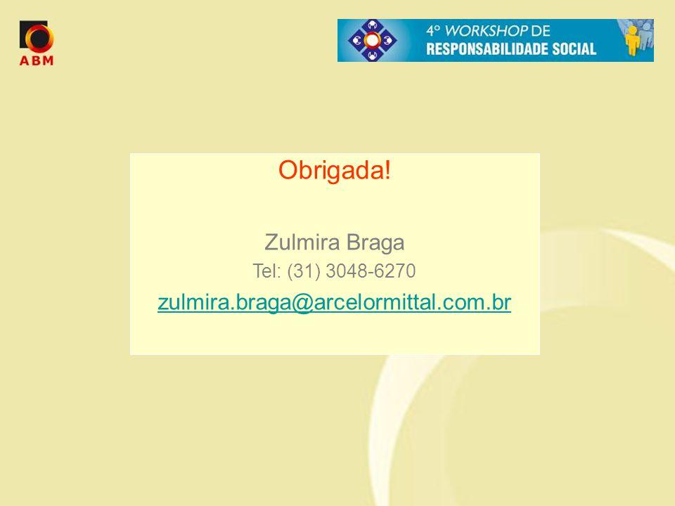 Obrigada! Zulmira Braga Tel: (31) 3048-6270 zulmira.braga@arcelormittal.com.br