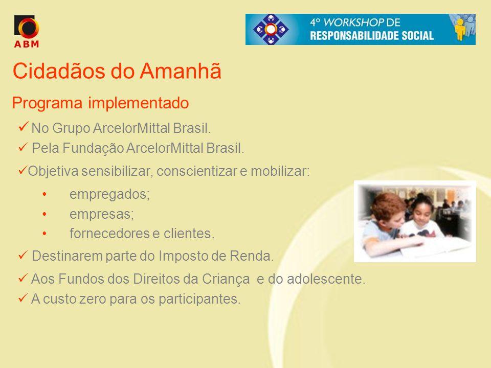 Cidadãos do Amanhã No Grupo ArcelorMittal Brasil. Pela Fundação ArcelorMittal Brasil. Objetiva sensibilizar, conscientizar e mobilizar: empregados; em