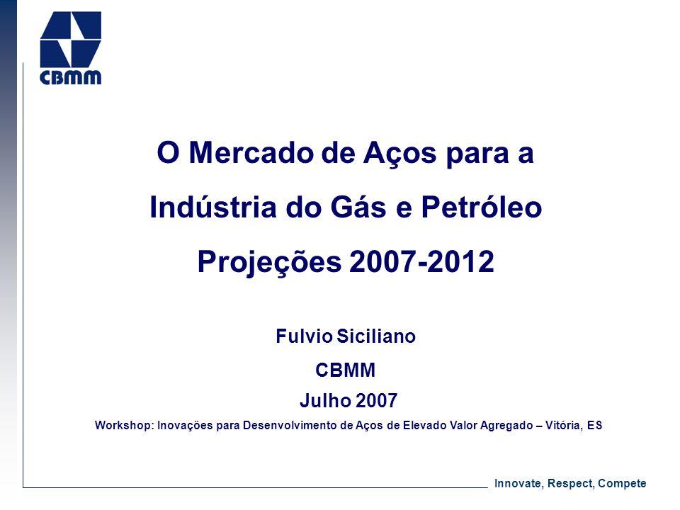 Innovate, Respect, Compete O Mercado de Aços para a Indústria do Gás e Petróleo Projeções 2007-2012 Fulvio Siciliano CBMM Julho 2007 Workshop: Inovaçõ