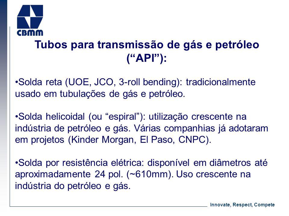 Innovate, Respect, Compete Tubos para transmissão de gás e petróleo (API): Solda reta (UOE, JCO, 3-roll bending): tradicionalmente usado em tubulações