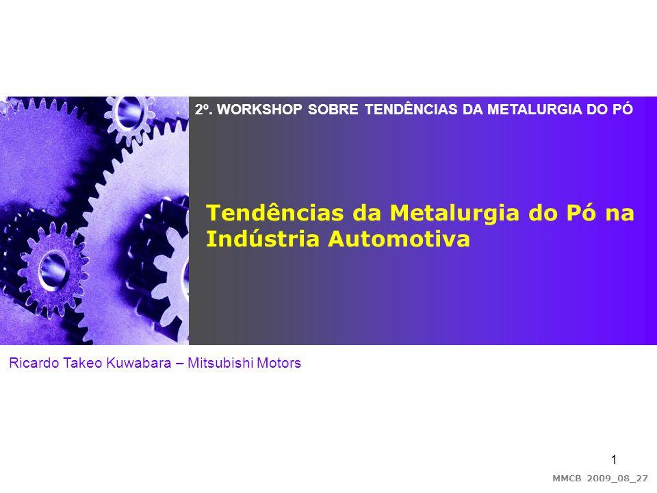 1 2º. WORKSHOP SOBRE TENDÊNCIAS DA METALURGIA DO PÓ Ricardo Takeo Kuwabara – Mitsubishi Motors Tendências da Metalurgia do Pó na Indústria Automotiva